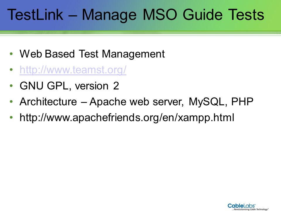 TestLink – Manage MSO Guide Tests