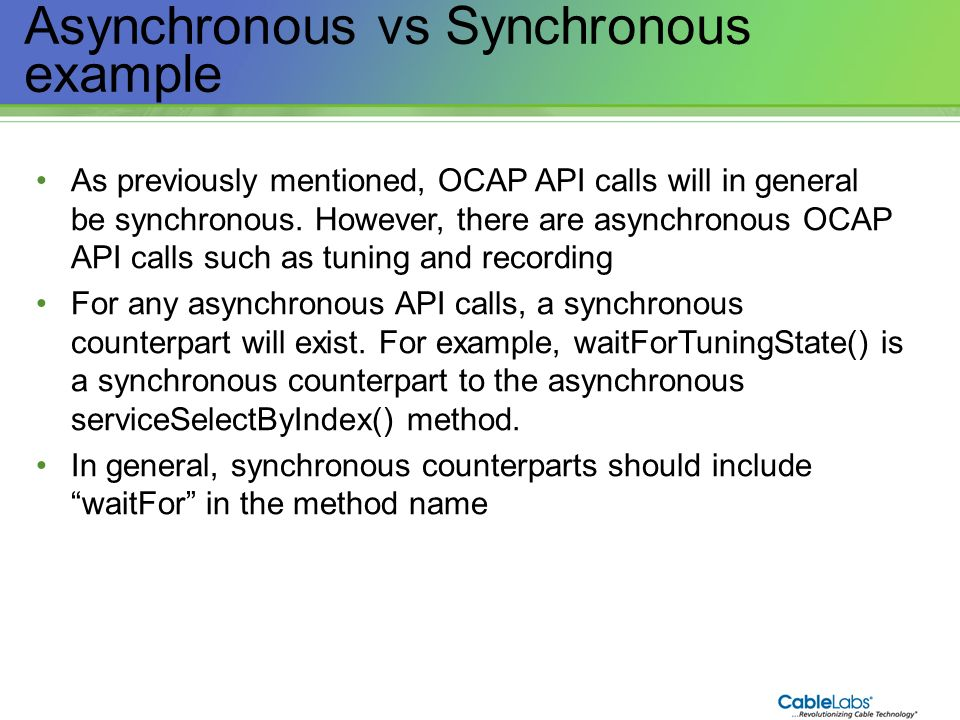 Asynchronous vs Synchronous example
