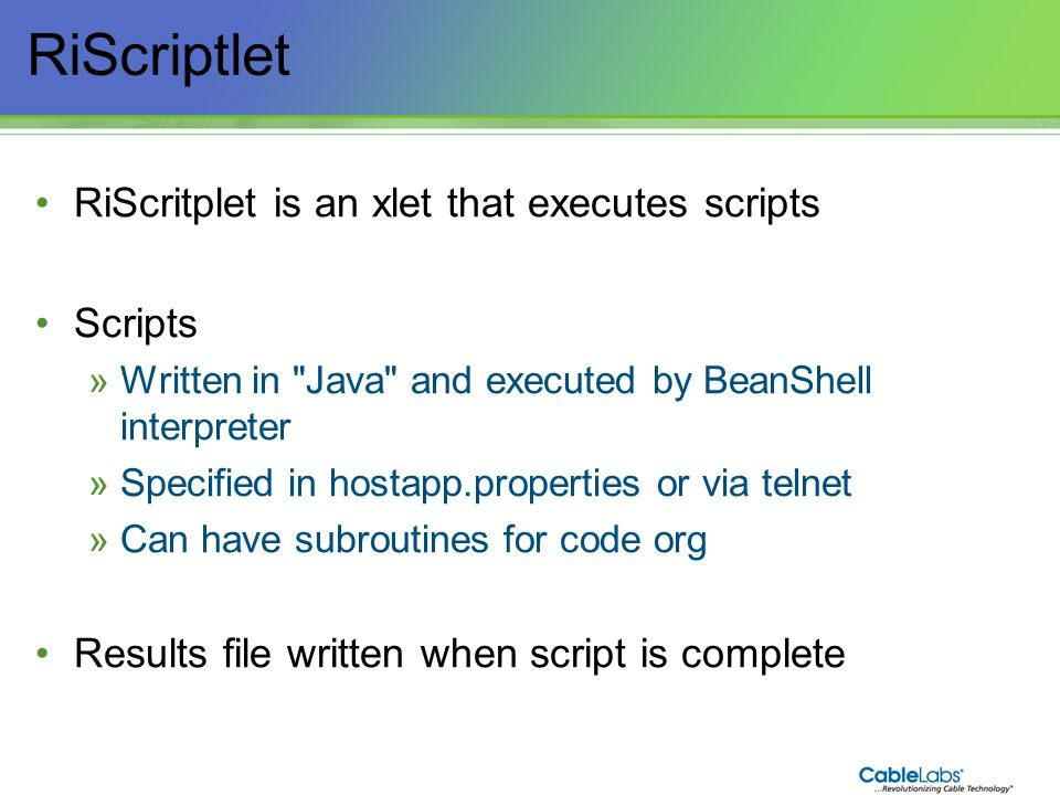 RiScriptlet RiScritplet is an xlet that executes scripts Scripts