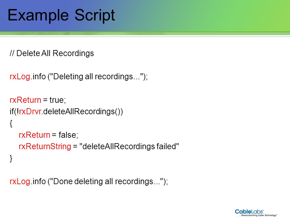 Example Script 196 // Delete All Recordings