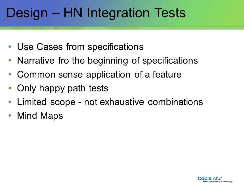 Design – HN Integration Tests