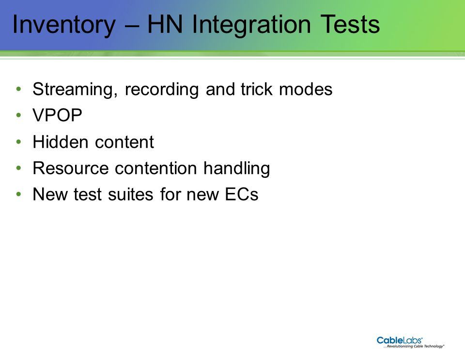Inventory – HN Integration Tests