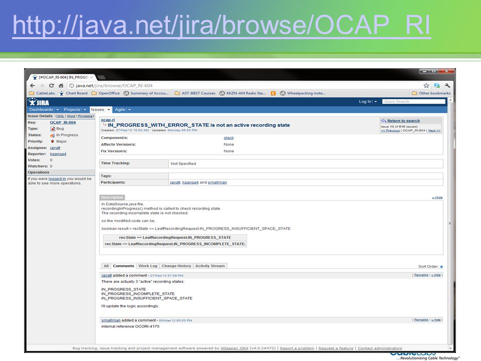 http://java.net/jira/browse/OCAP_RI