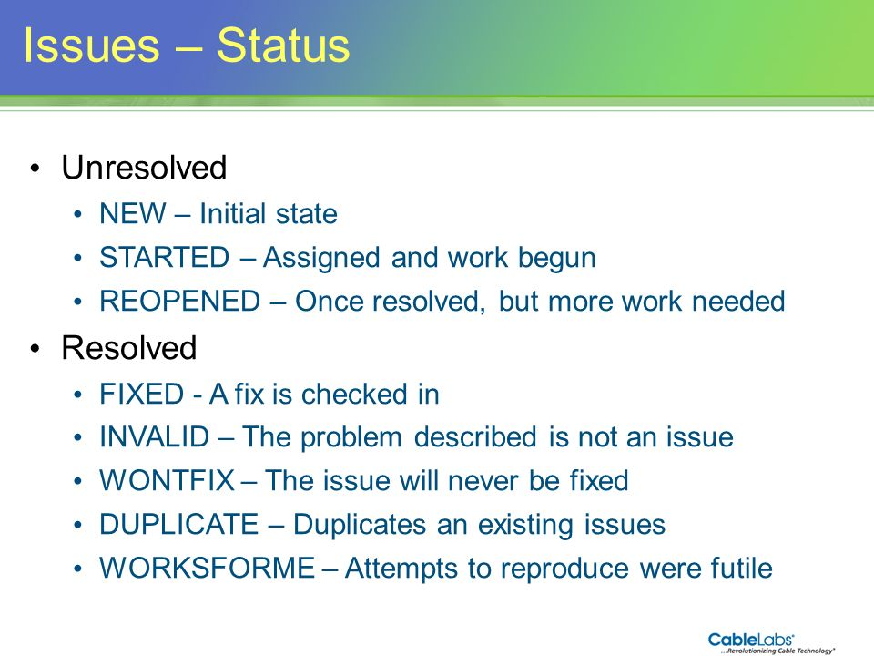 Issues – Status Unresolved Resolved NEW – Initial state