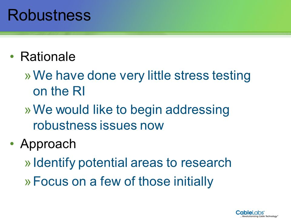 Robustness Rationale We have done very little stress testing on the RI