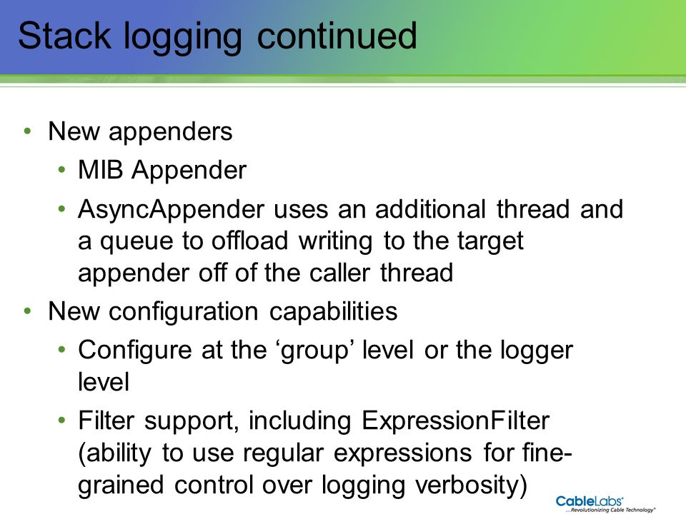 Stack logging continued