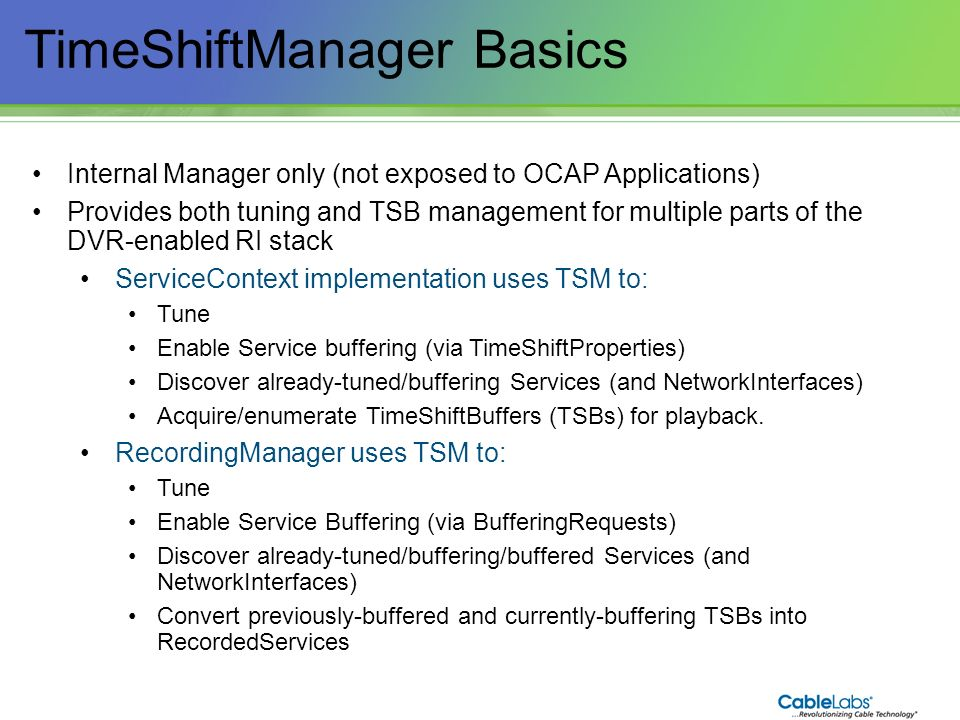 TimeShiftManager Basics