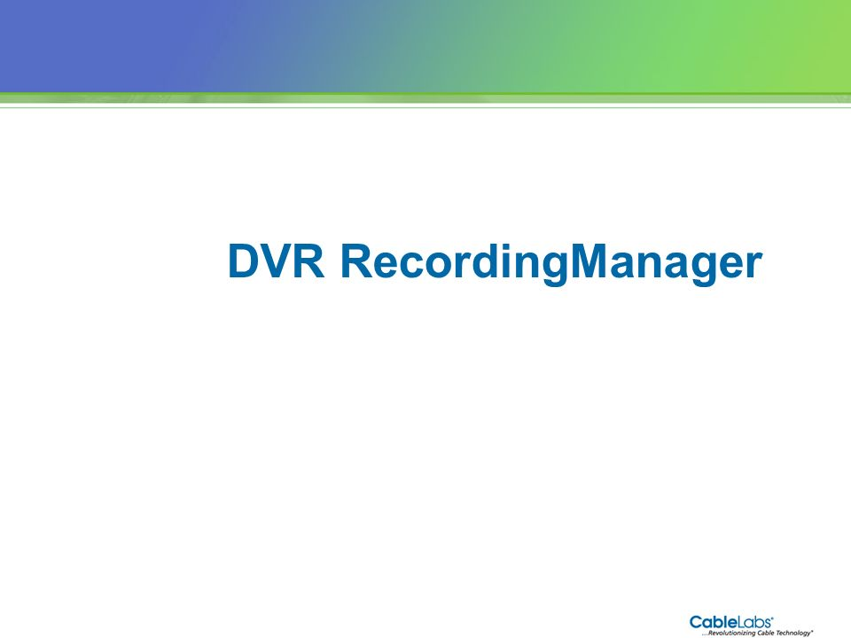 DVR RecordingManager 89