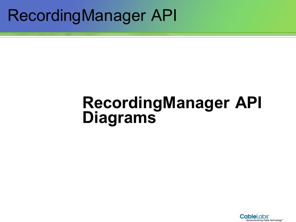 RecordingManager API Diagrams