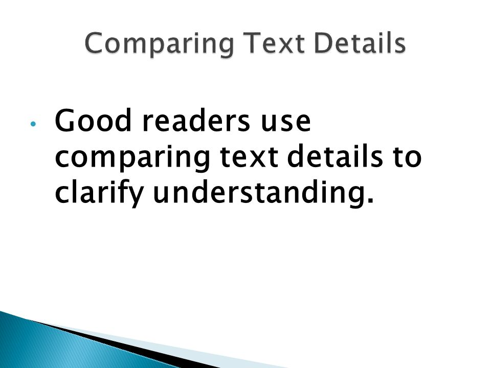 Comparing Text Details