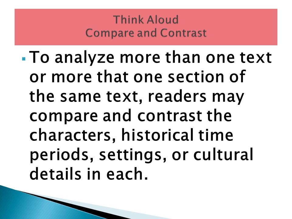 Think Aloud Compare and Contrast