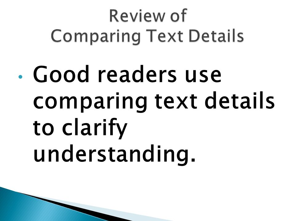 Review of Comparing Text Details