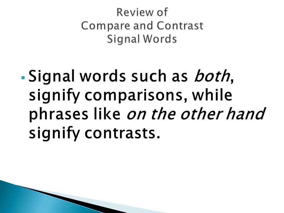 Review of Compare and Contrast Signal Words