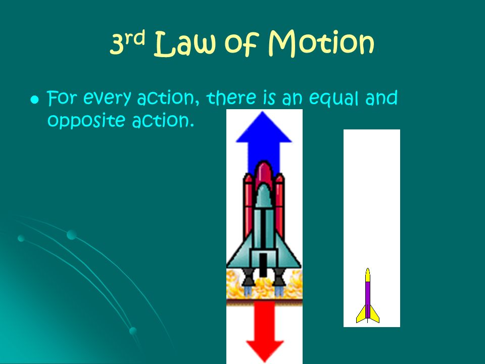 3rd Law of Motion For every action, there is an equal and opposite action.