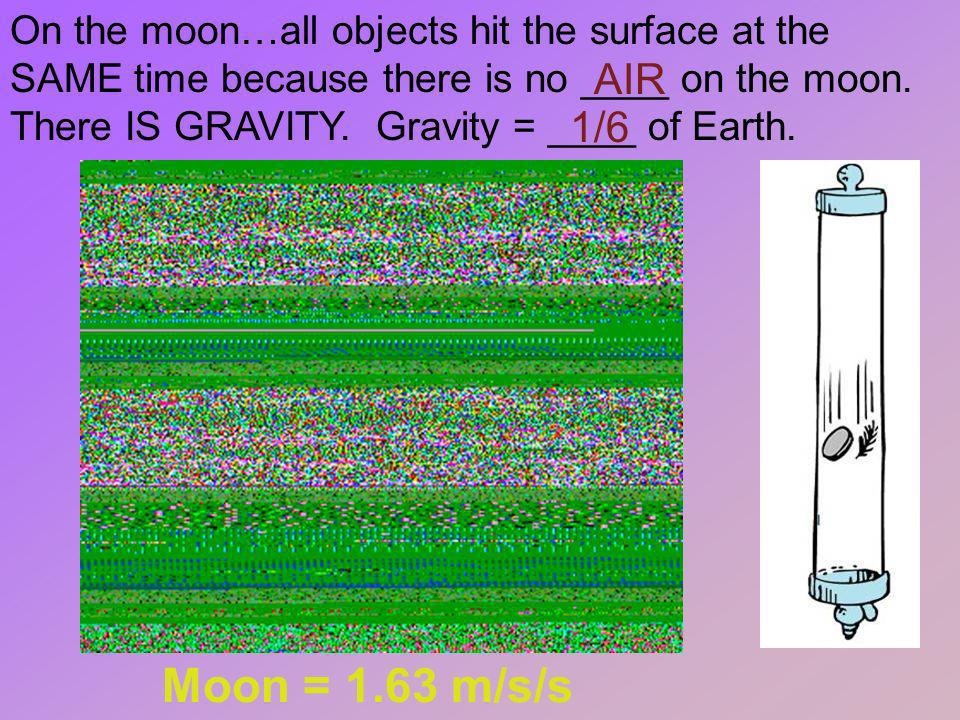 On the moon…all objects hit the surface at the SAME time because there is no ____ on the moon. There IS GRAVITY. Gravity = ____ of Earth.