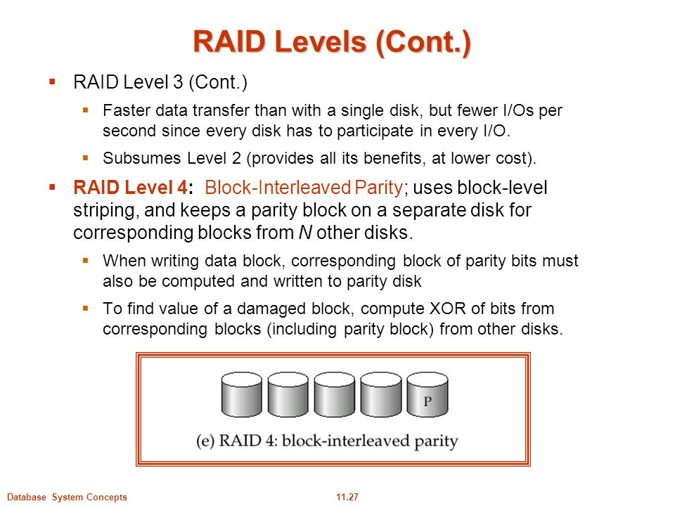 RAID Levels (Cont.) RAID Level 3 (Cont.)