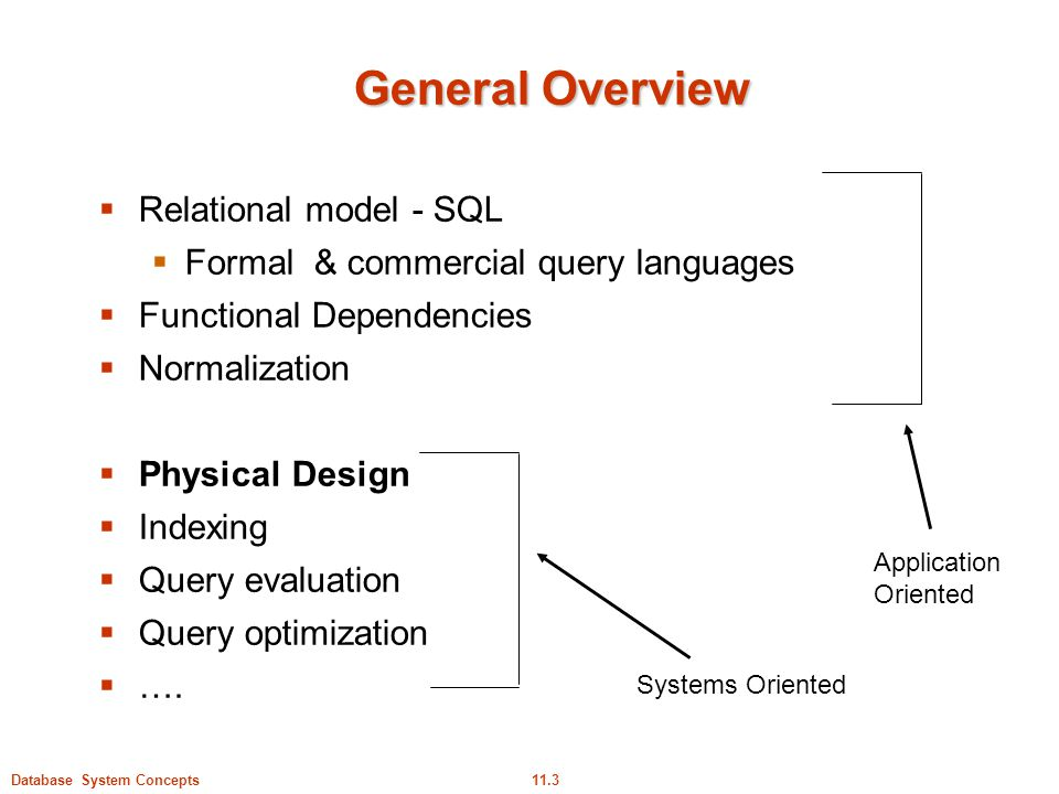 General Overview Relational model - SQL