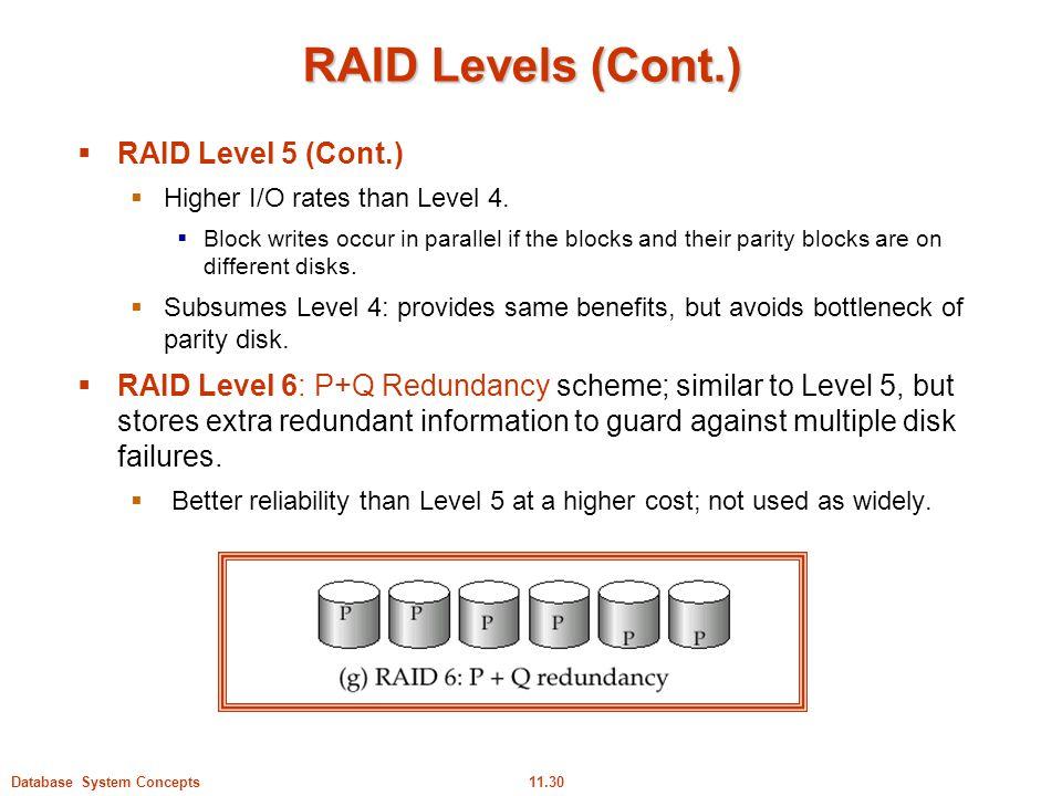 RAID Levels (Cont.) RAID Level 5 (Cont.)