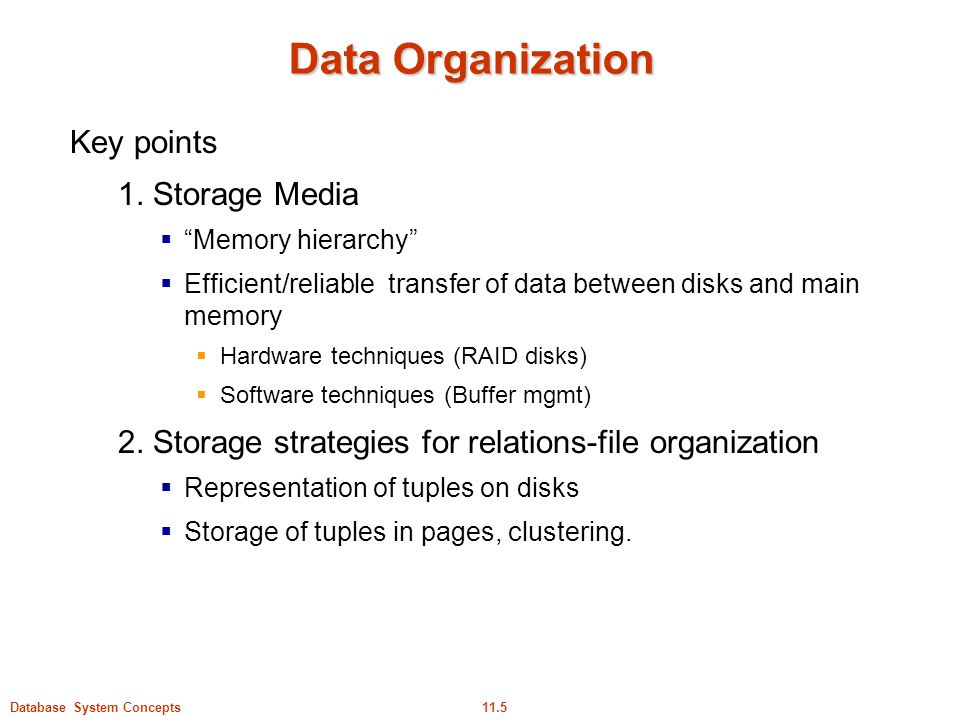 Data Organization Key points 1. Storage Media