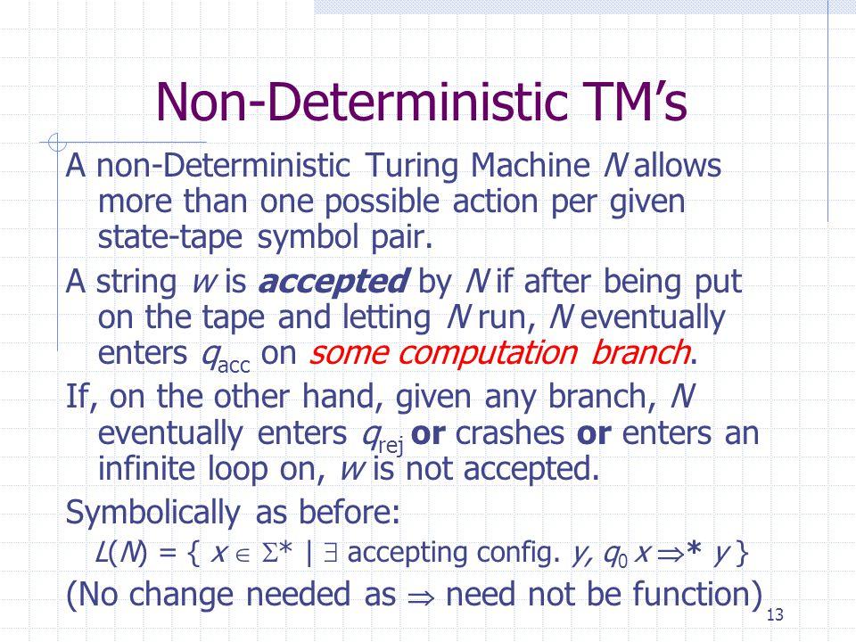 Non-Deterministic TM's