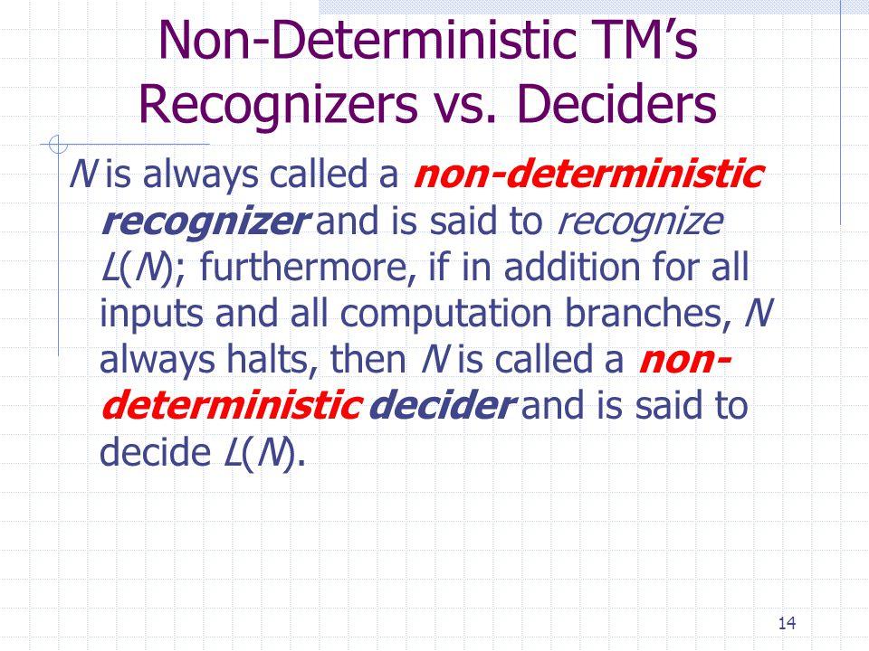 Non-Deterministic TM's Recognizers vs. Deciders