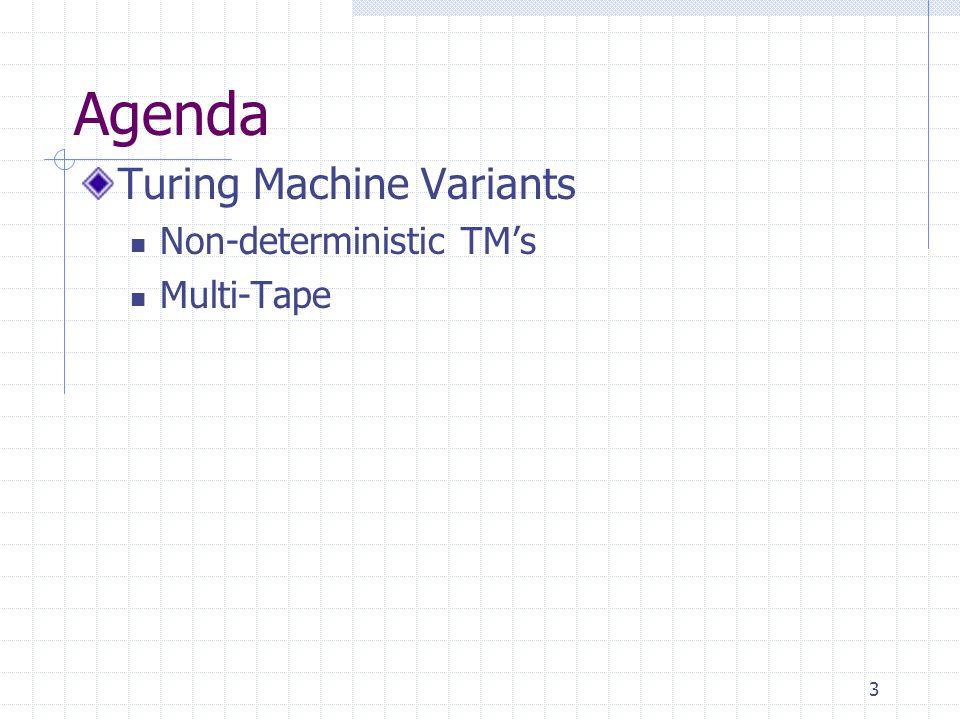 Agenda Turing Machine Variants Non-deterministic TM's Multi-Tape