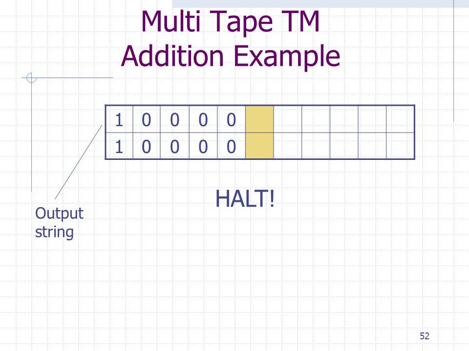 Multi Tape TM Addition Example