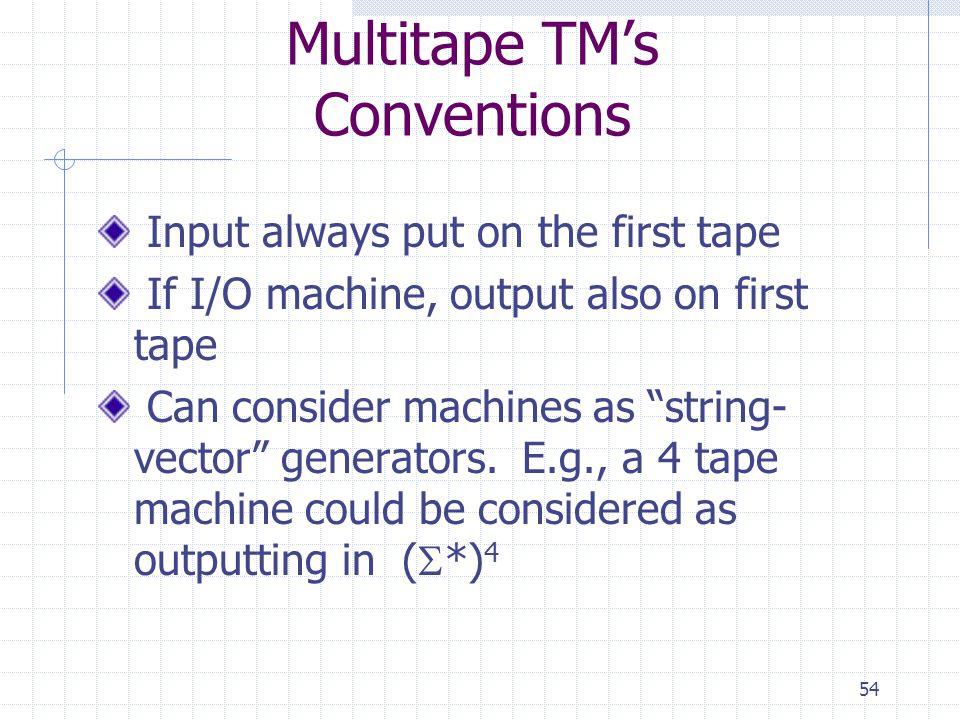 Multitape TM's Conventions