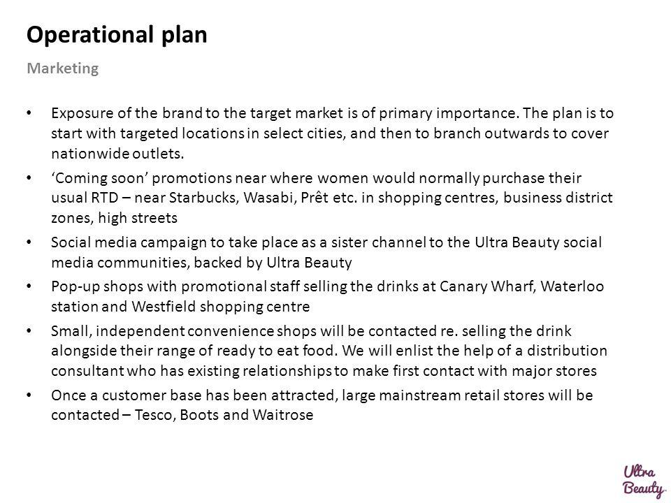 Operational plan Marketing