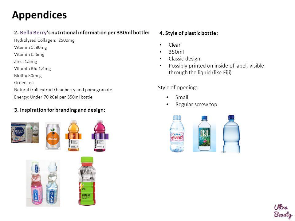 Appendices 2. Bella Berry's nutritional information per 330ml bottle: