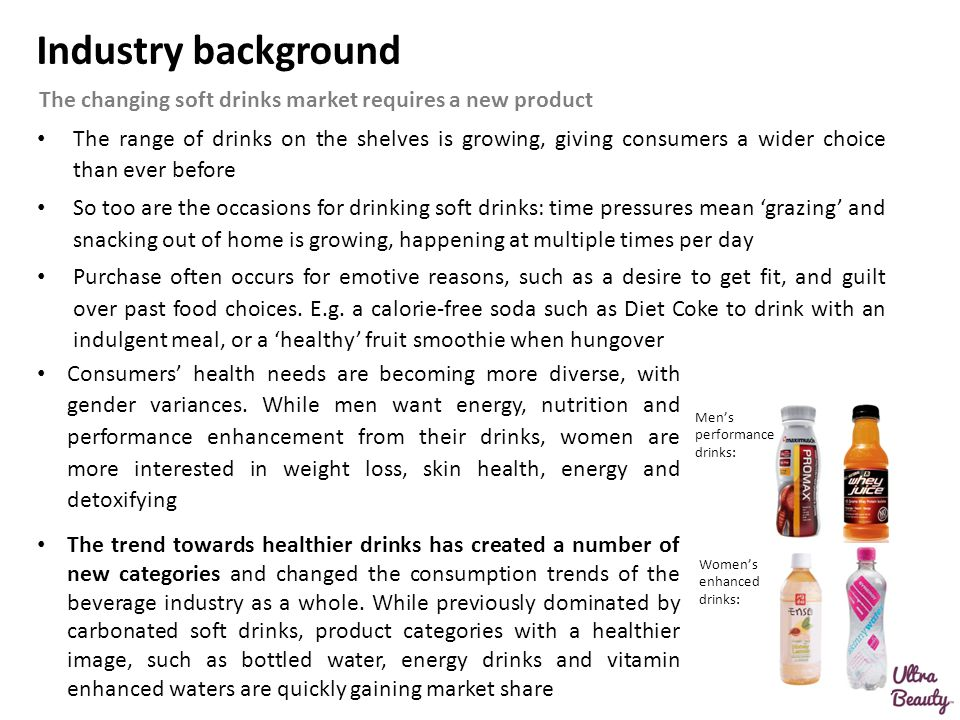 Industry background The changing soft drinks market requires a new product.