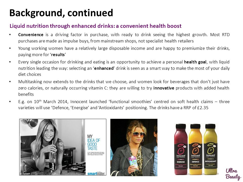 Background, continued Liquid nutrition through enhanced drinks: a convenient health boost.