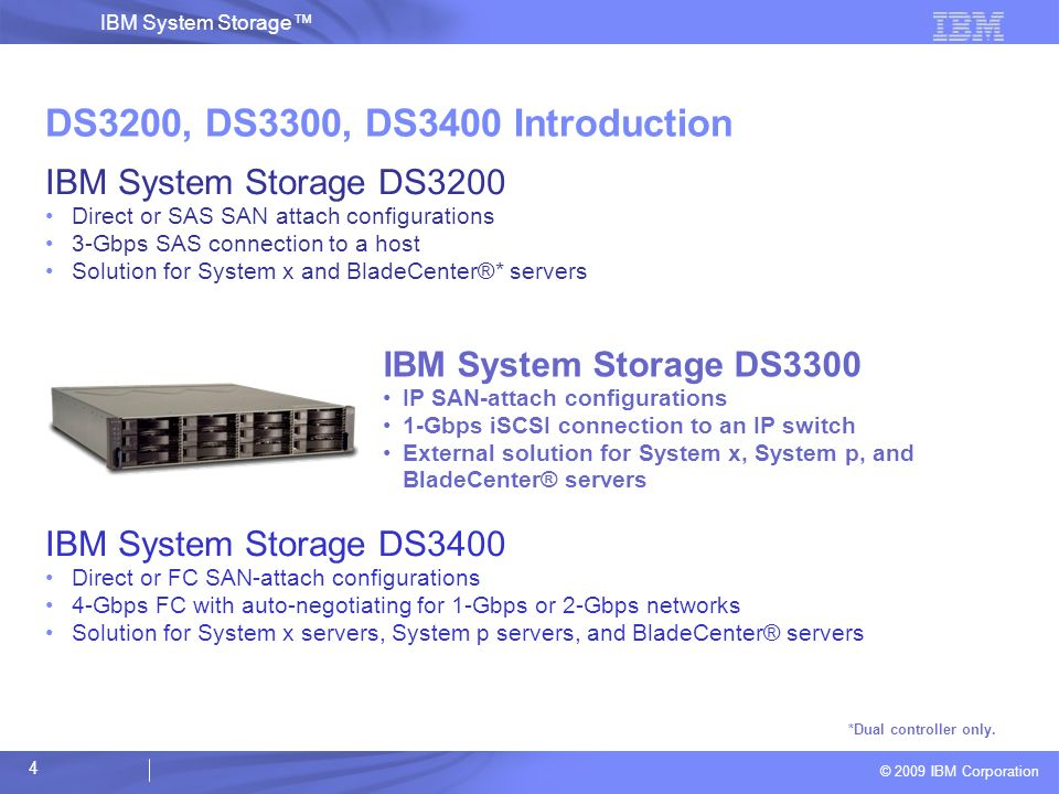 DS3200, DS3300, DS3400 Introduction IBM System Storage DS3200