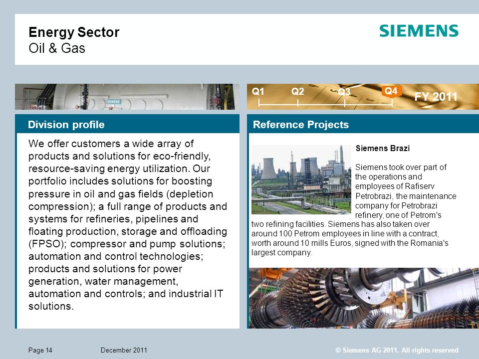 Energy Sector Oil & Gas FY 2011 Division profile Reference Projects