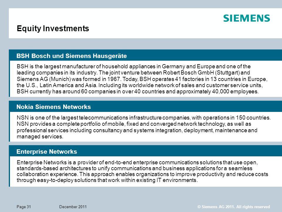 Equity Investments BSH Bosch und Siemens Hausgeräte