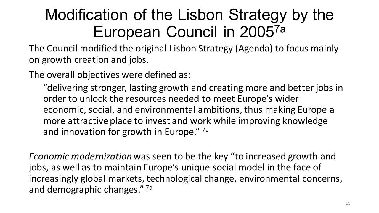 Modification of the Lisbon Strategy by the European Council in 20057a