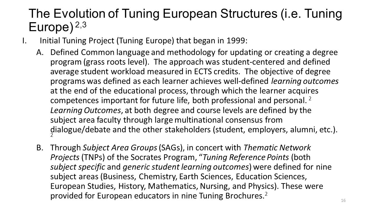The Evolution of Tuning European Structures (i.e. Tuning Europe) 2,3