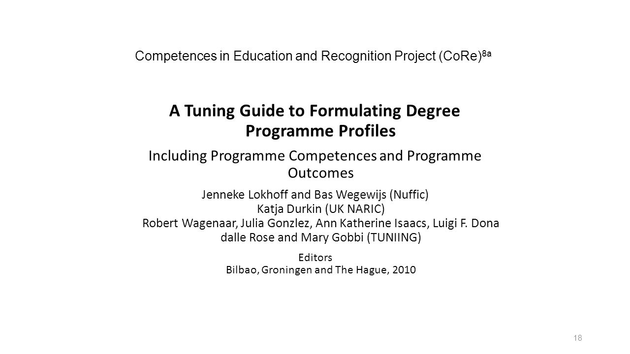 Competences in Education and Recognition Project (CoRe)8a