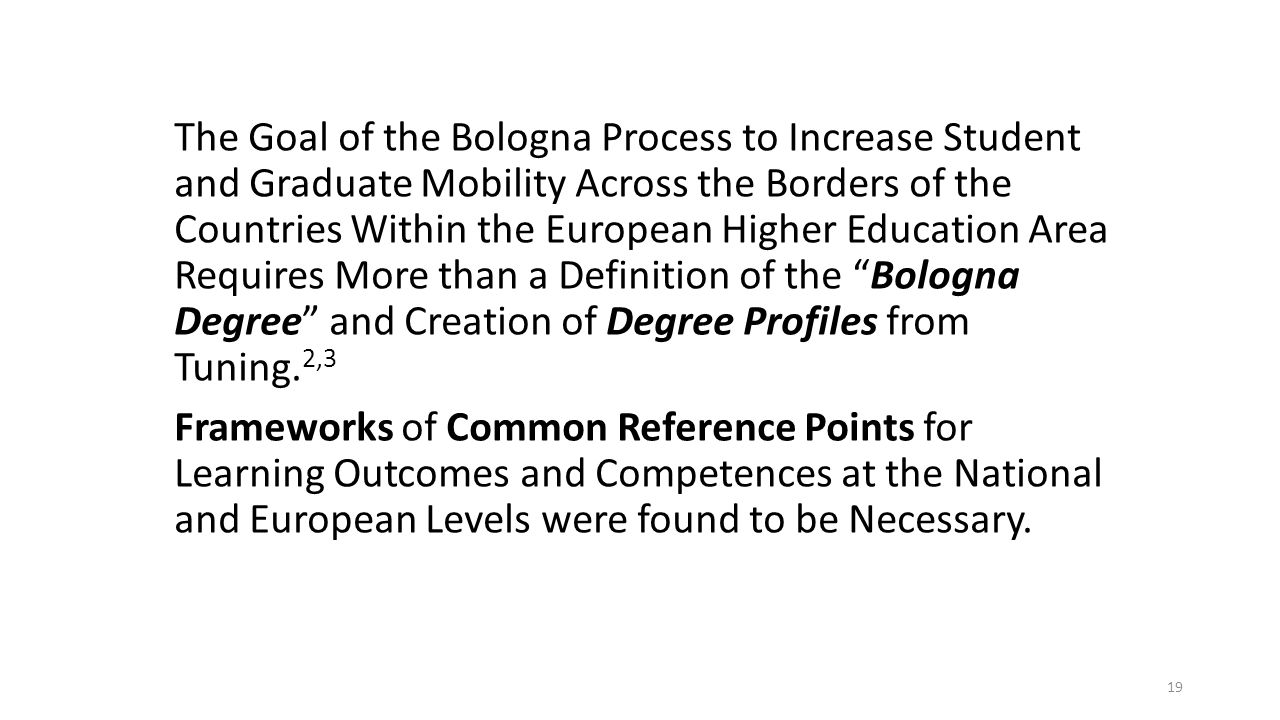 The Goal of the Bologna Process to Increase Student and Graduate Mobility Across the Borders of the Countries Within the European Higher Education Area Requires More than a Definition of the Bologna Degree and Creation of Degree Profiles from Tuning.2,3 Frameworks of Common Reference Points for Learning Outcomes and Competences at the National and European Levels were found to be Necessary.