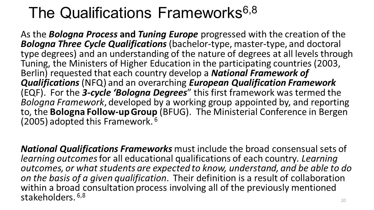 The Qualifications Frameworks6,8