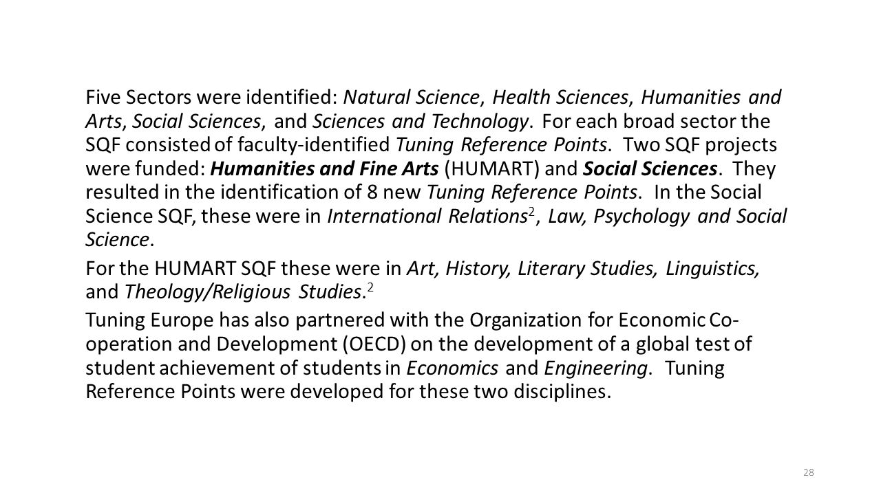 Five Sectors were identified: Natural Science, Health Sciences, Humanities and Arts, Social Sciences, and Sciences and Technology.