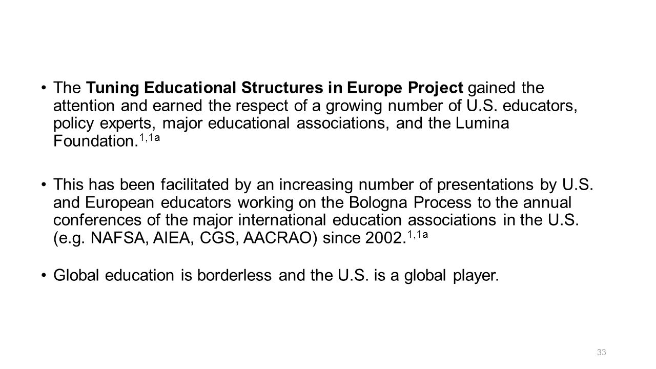 The Tuning Educational Structures in Europe Project gained the attention and earned the respect of a growing number of U.S. educators, policy experts, major educational associations, and the Lumina Foundation.1,1a