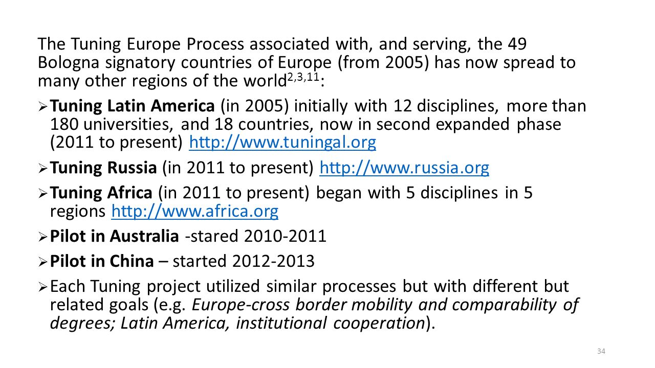 The Tuning Europe Process associated with, and serving, the 49 Bologna signatory countries of Europe (from 2005) has now spread to many other regions of the world2,3,11: