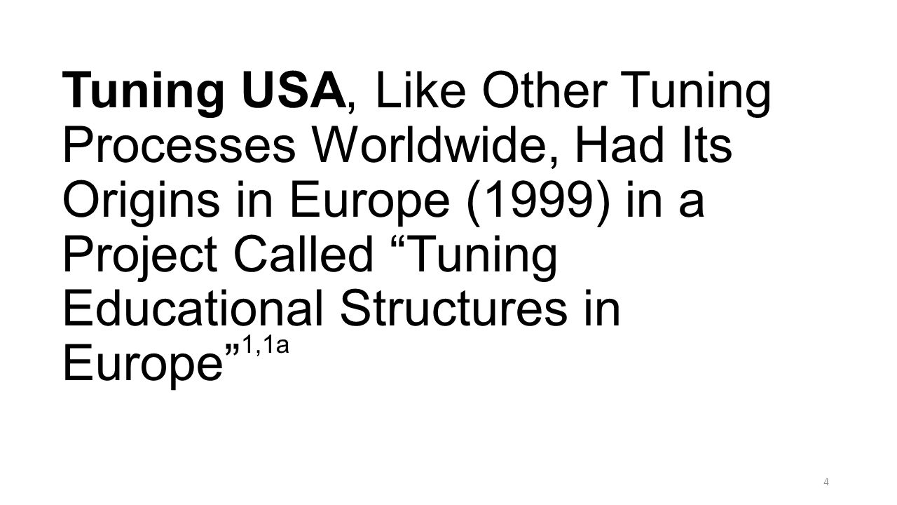 Tuning USA, Like Other Tuning Processes Worldwide, Had Its Origins in Europe (1999) in a Project Called Tuning Educational Structures in Europe 1,1a
