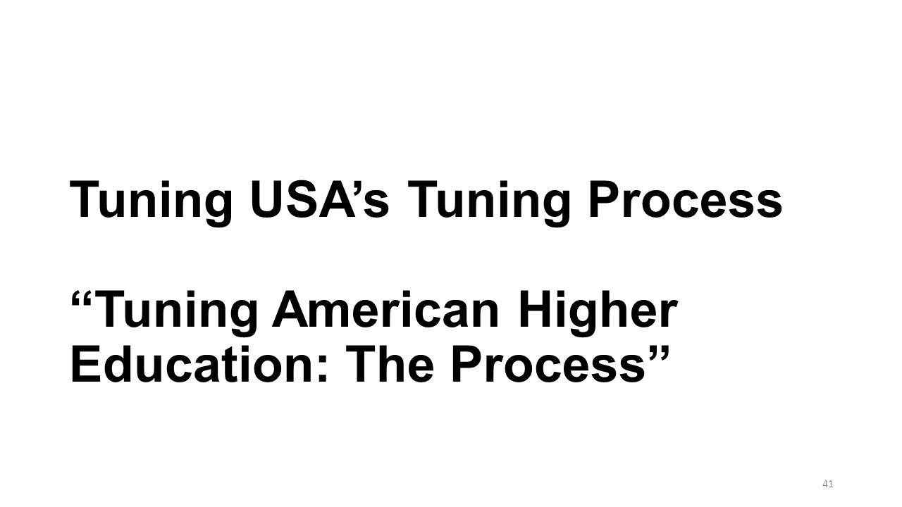 Tuning USA's Tuning Process Tuning American Higher Education: The Process