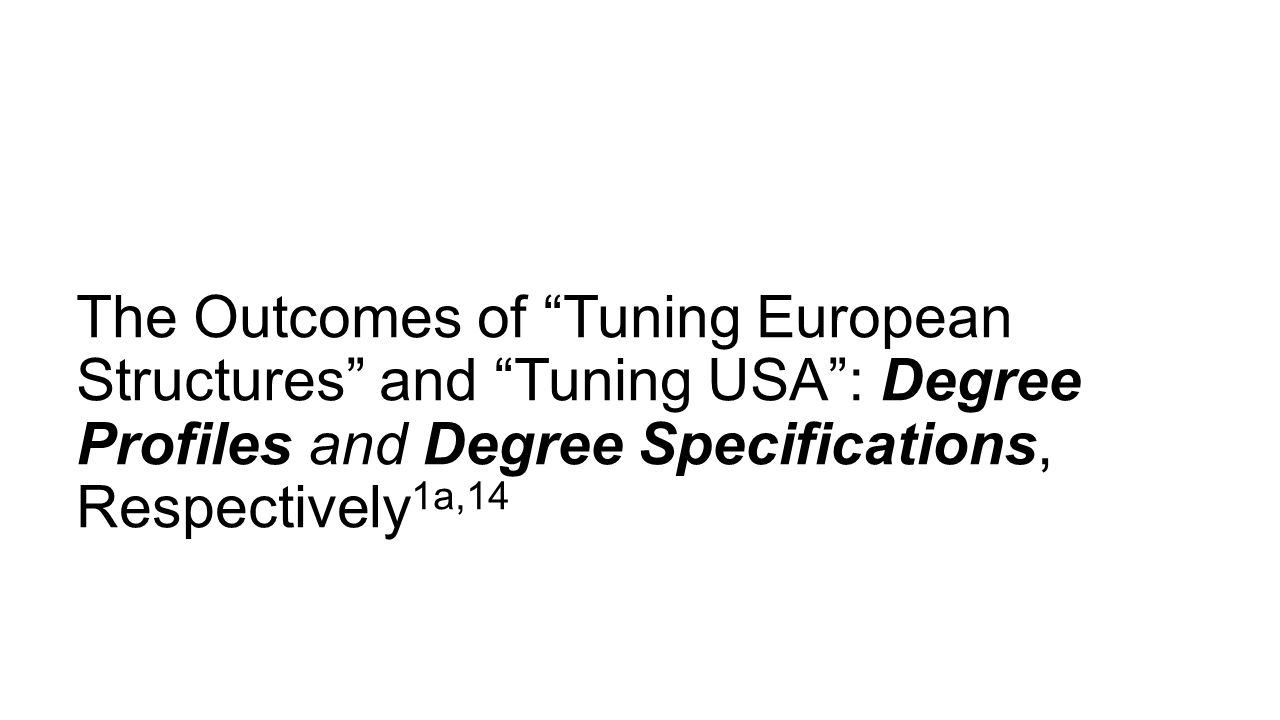 The Outcomes of Tuning European Structures and Tuning USA : Degree Profiles and Degree Specifications, Respectively1a,14