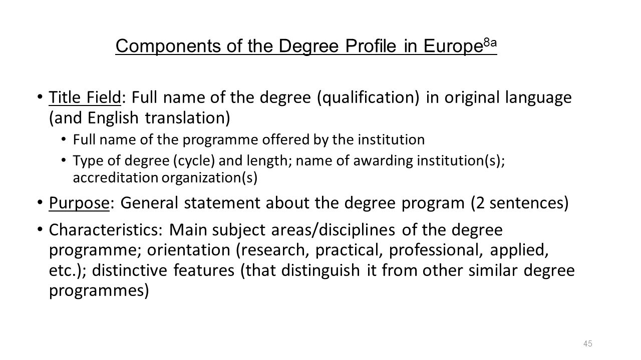Components of the Degree Profile in Europe8a
