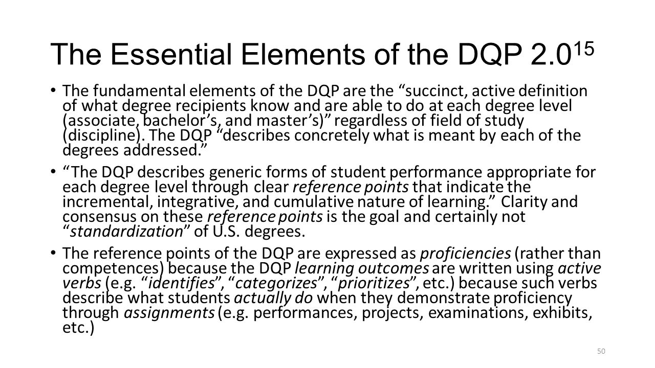 The Essential Elements of the DQP 2.015