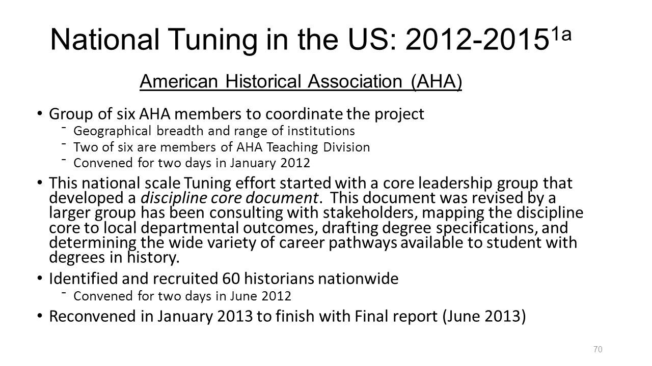 National Tuning in the US: 2012-20151a