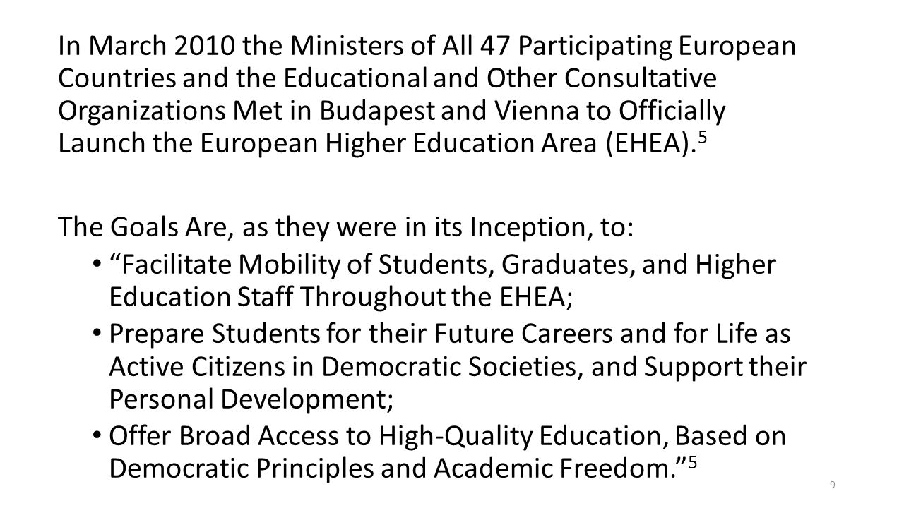 In March 2010 the Ministers of All 47 Participating European Countries and the Educational and Other Consultative Organizations Met in Budapest and Vienna to Officially Launch the European Higher Education Area (EHEA).5